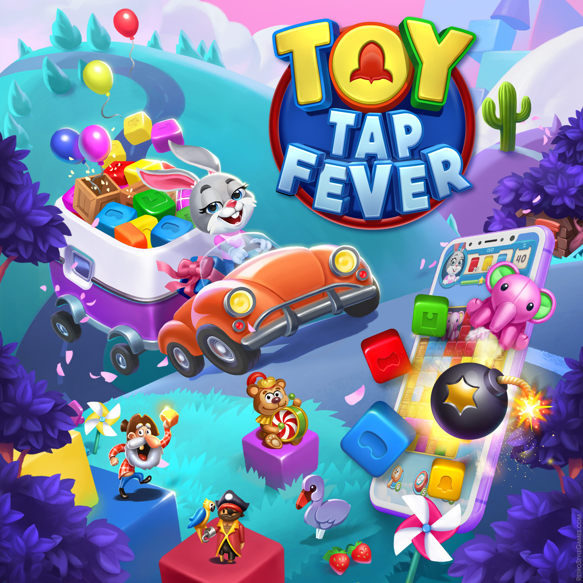 Toy Tap Fever 2D Homepage Gaming Logo Match-3