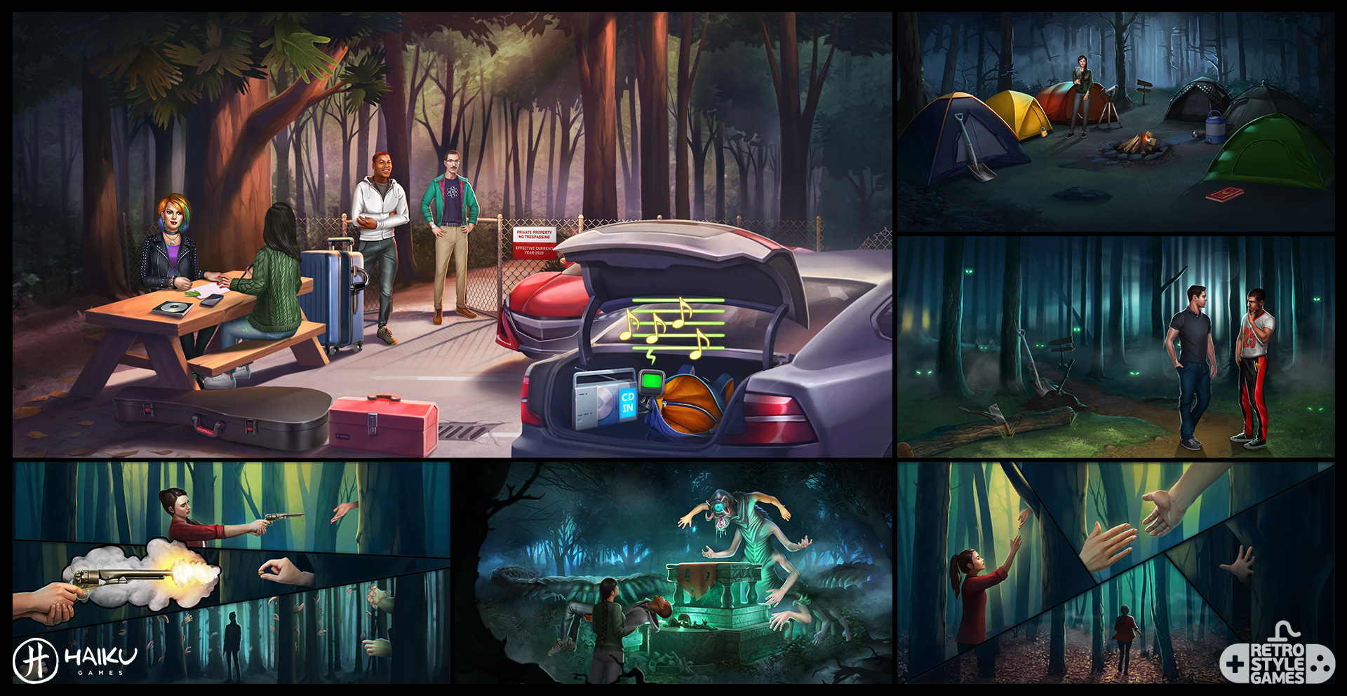 Haiku 2D Backgrounds Forect Camp Spirit Altar Centipede