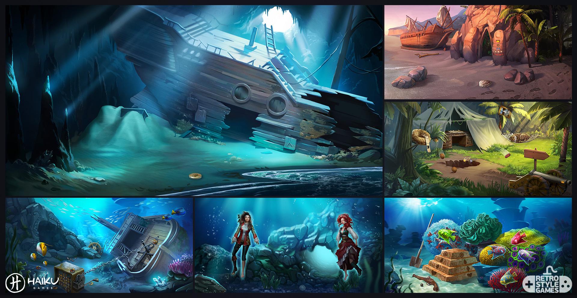 Haiku HOG 2D Background Pirate Sunken Ship Underwater