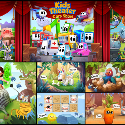 2D Cartoon Stylized Background Kids Game Farm Zoo Cars