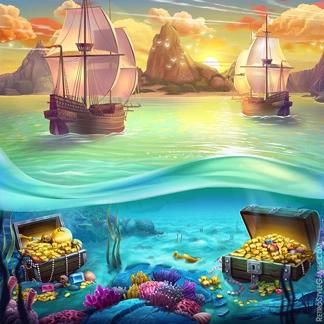 2D Game Background Adventure Slot Machine Treasure