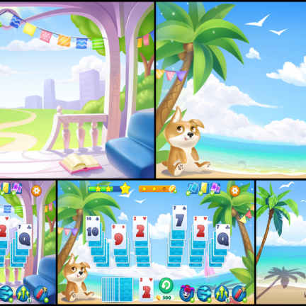 2D Game Background Environment Solitaire Beach Terrace
