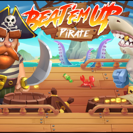 2D Game Cartoon Stylized Background Pirate Shark Spine