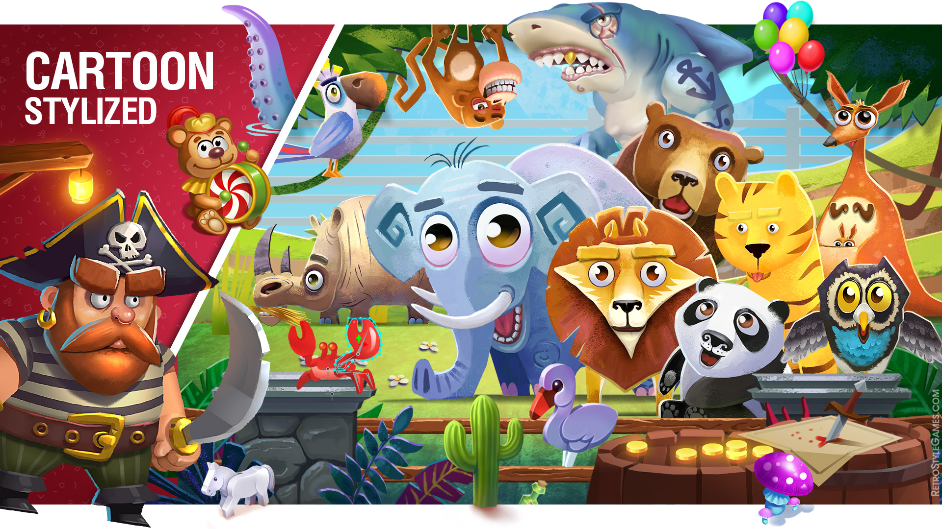 2D Game Cartoon Stylized Background Pirate Zoo