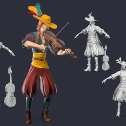 3D Modeling Character Rigging Animation Bard Musician