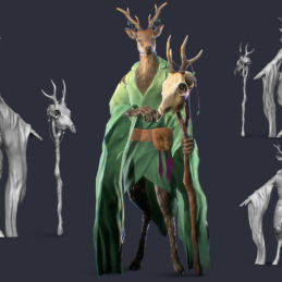 3D Modeling Character Rigging Animation Deer Druid
