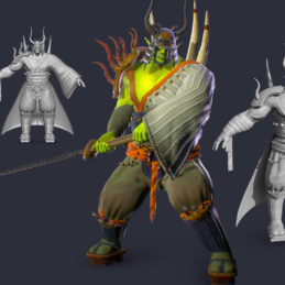 3D Modeling Character Rigging Animation Orc Warlord