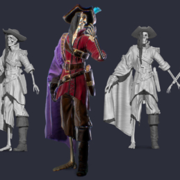 3D Modeling Character Rigging Animation Pirate Scull