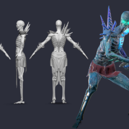 3D Modeling Character Rigging Animation Zombie Sceleton