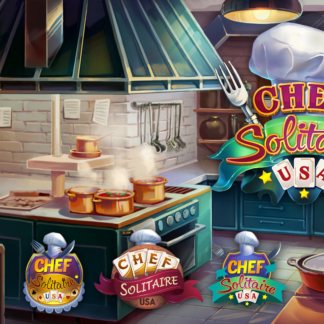 Casual Game Logo Design Concept Chef Solitaire