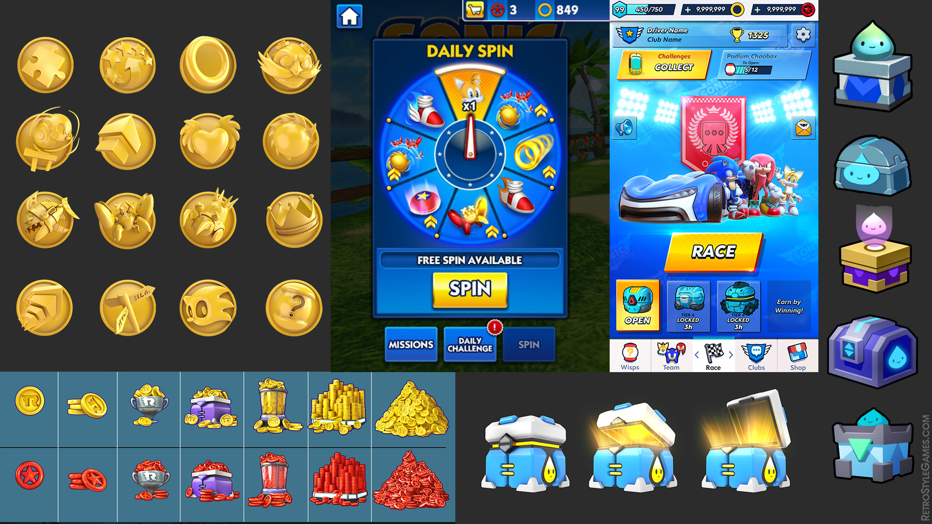 UI UX Game Icons Sonic Dash Boosters