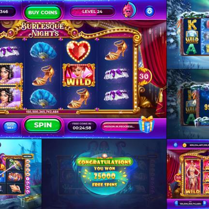 UI UX Slot Design Burlesque Nights Сabaret