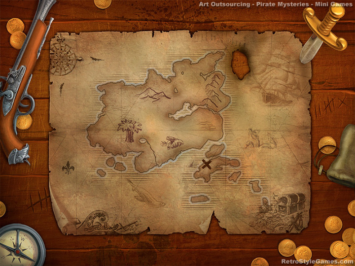 Art outsourcing - mini games artwork, pirates map illustration